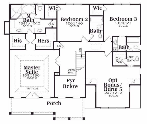 Traditional Floor Plan - Upper Floor Plan Plan #419-140