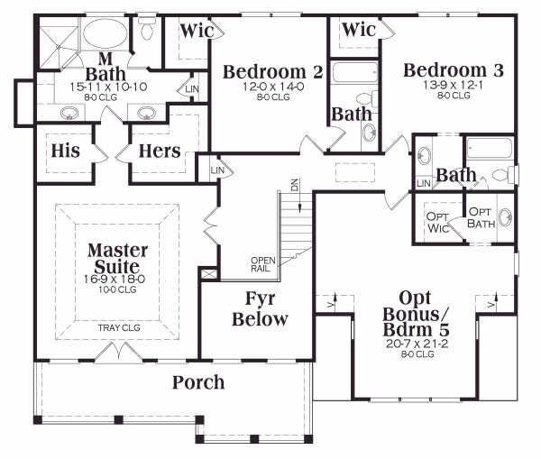 Traditional Floor Plan - Upper Floor Plan #419-140
