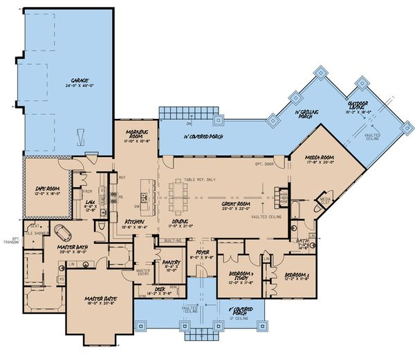 Dream House Plan - Craftsman Floor Plan - Main Floor Plan #923-162