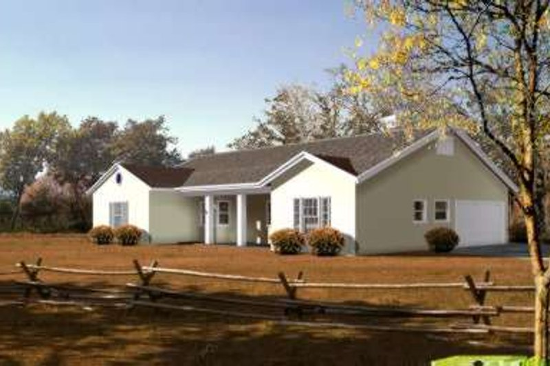 Ranch Style House Plan - 3 Beds 2 Baths 1906 Sq/Ft Plan #1-415 Exterior - Front Elevation