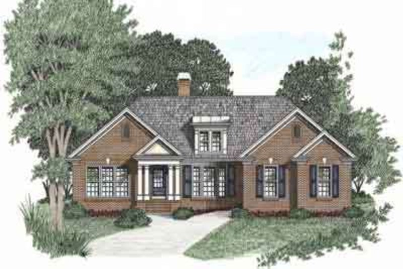 Traditional Style House Plan - 3 Beds 2 Baths 1592 Sq/Ft Plan #129-101 Exterior - Front Elevation