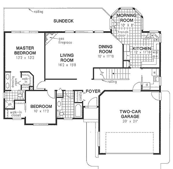 House Blueprint - Ranch Floor Plan - Main Floor Plan #18-105