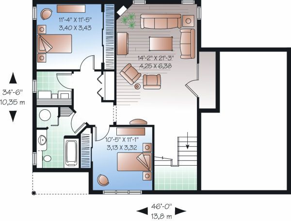 Traditional Floor Plan - Lower Floor Plan Plan #23-817