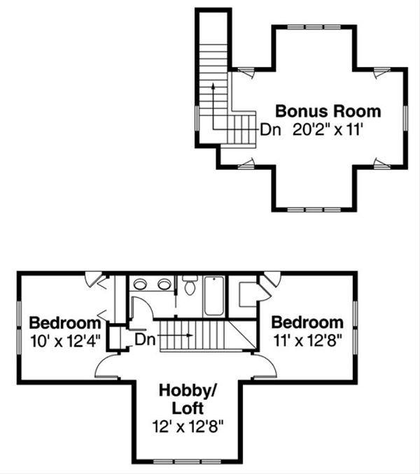 Bungalow Floor Plan - Upper Floor Plan Plan #124-485