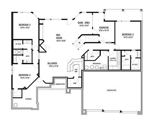 Contemporary Floor Plan - Lower Floor Plan Plan #56-601