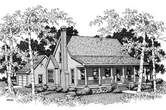 Cabin Exterior - Front Elevation Plan #41-174