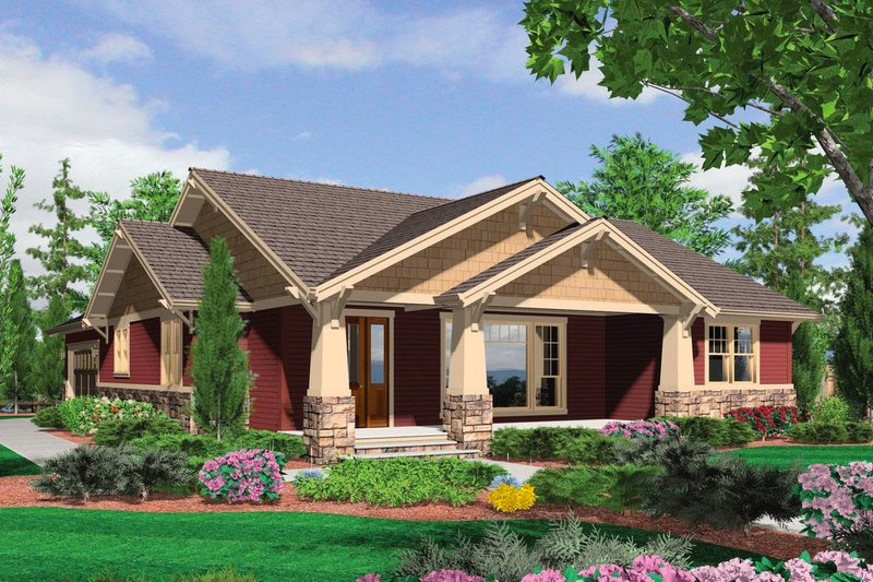 Dream House Plan - Front View - 1900 square foot Craftsman Home