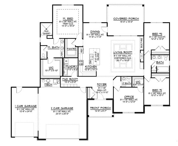 Farmhouse Floor Plan - Main Floor Plan #1064-115