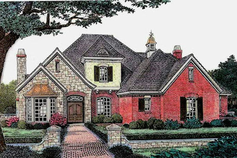 European Style House Plan - 4 Beds 3 Baths 3064 Sq/Ft Plan #310-880 Exterior - Front Elevation