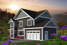 Architectural House Design - Craftsman Exterior - Rear Elevation Plan #70-1219
