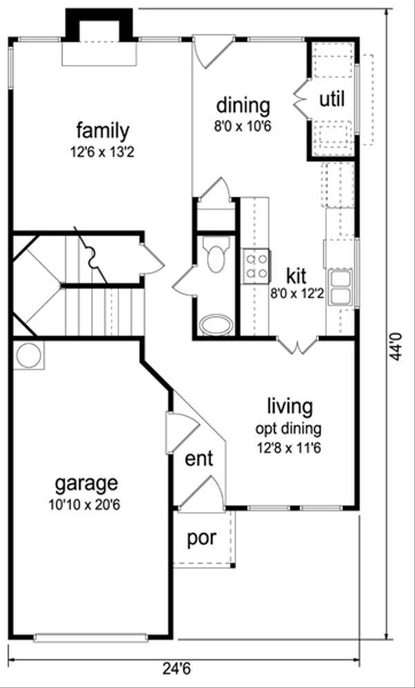 Home Plan - Colonial Floor Plan - Main Floor Plan #84-544