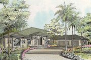 Mediterranean Style House Plan - 4 Beds 4.5 Baths 3593 Sq/Ft Plan #420-132 Exterior - Front Elevation