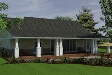 Architectural House Design - Rear Covered Porch on Craftsman design, ranch style home