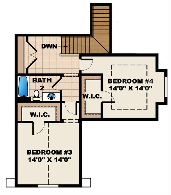 European Floor Plan - Upper Floor Plan Plan #27-448
