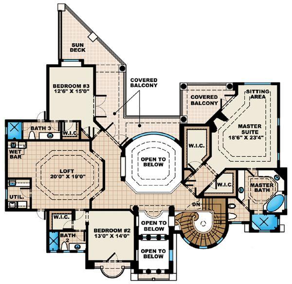 European Floor Plan - Upper Floor Plan #27-431