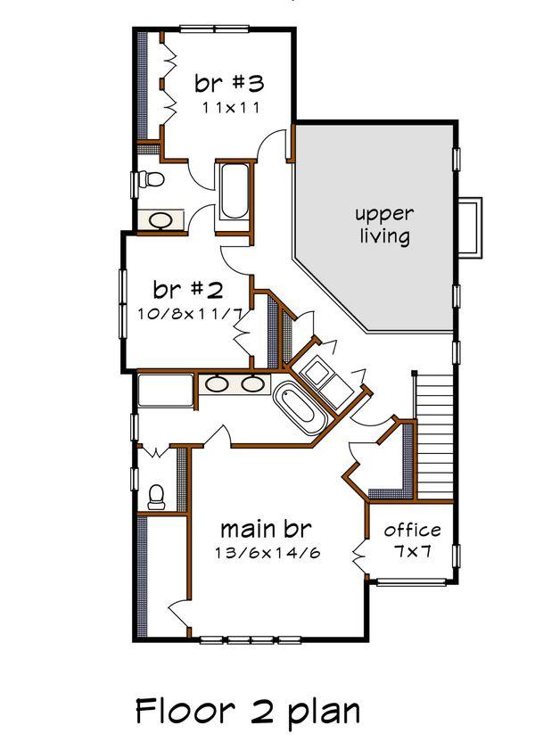 Modern Floor Plan - Upper Floor Plan #79-300