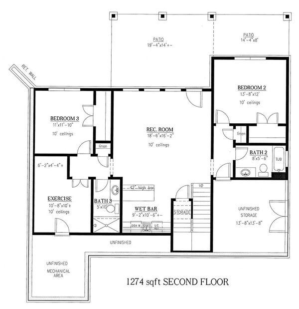 Craftsman Floor Plan - Upper Floor Plan Plan #437-123