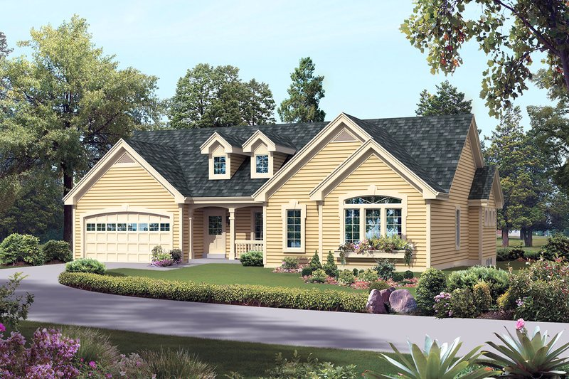 Home Plan - Country Exterior - Front Elevation Plan #57-695