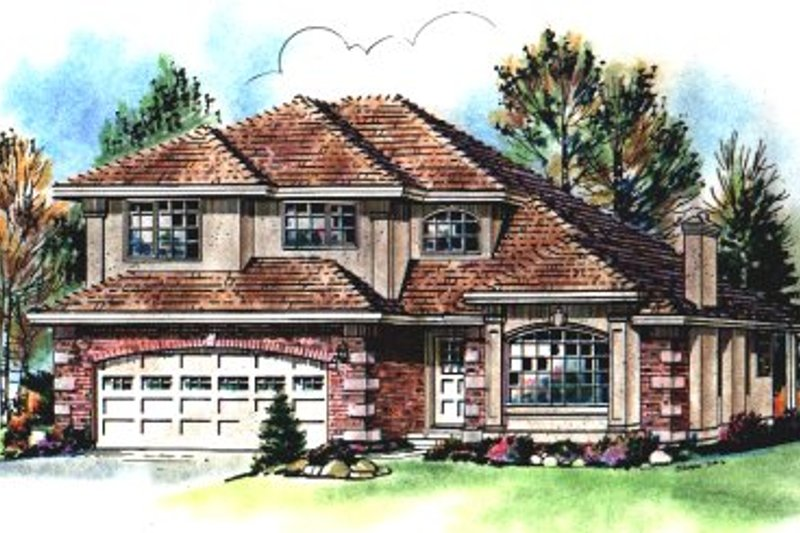 European Exterior - Front Elevation Plan #18-238
