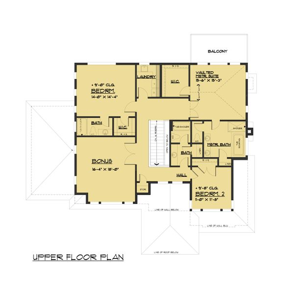 Contemporary Floor Plan - Upper Floor Plan Plan #1066-80