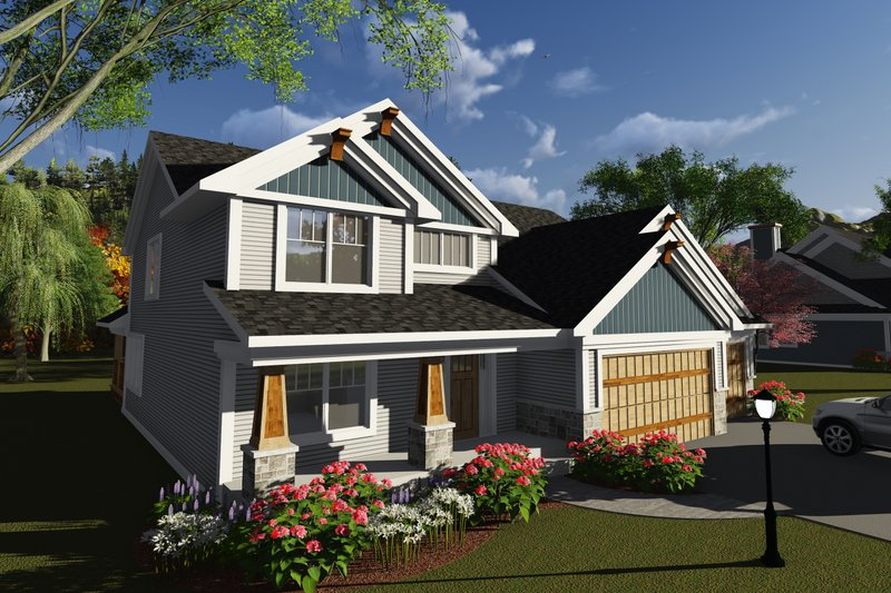 Craftsman Style House Plan - 4 Beds 2.5 Baths 2576 Sq/Ft Plan #70-1250 Exterior - Front Elevation