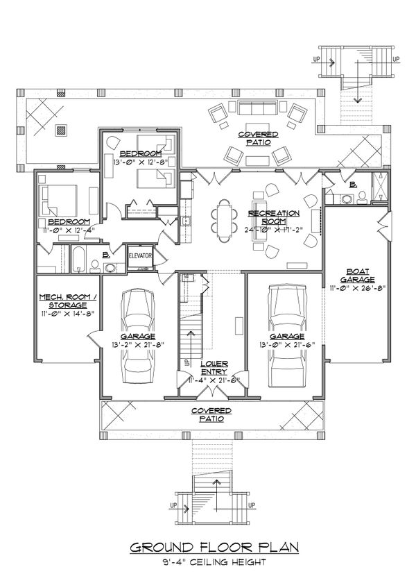 Country Floor Plan - Lower Floor Plan Plan #1054-34