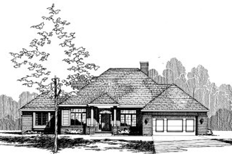 Traditional Style House Plan - 3 Beds 2.5 Baths 2068 Sq/Ft Plan #20-136 Exterior - Front Elevation
