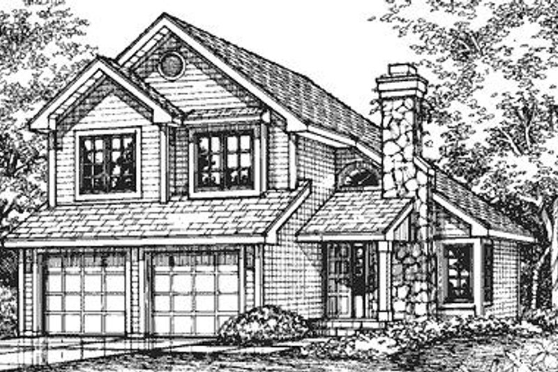 Traditional Style House Plan - 3 Beds 2.5 Baths 1731 Sq/Ft Plan #50-147 Exterior - Front Elevation