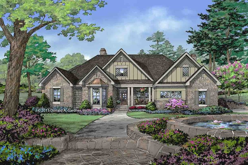 European Style House Plan - 4 Beds 3.5 Baths 2689 Sq/Ft Plan #929-31 Exterior - Front Elevation