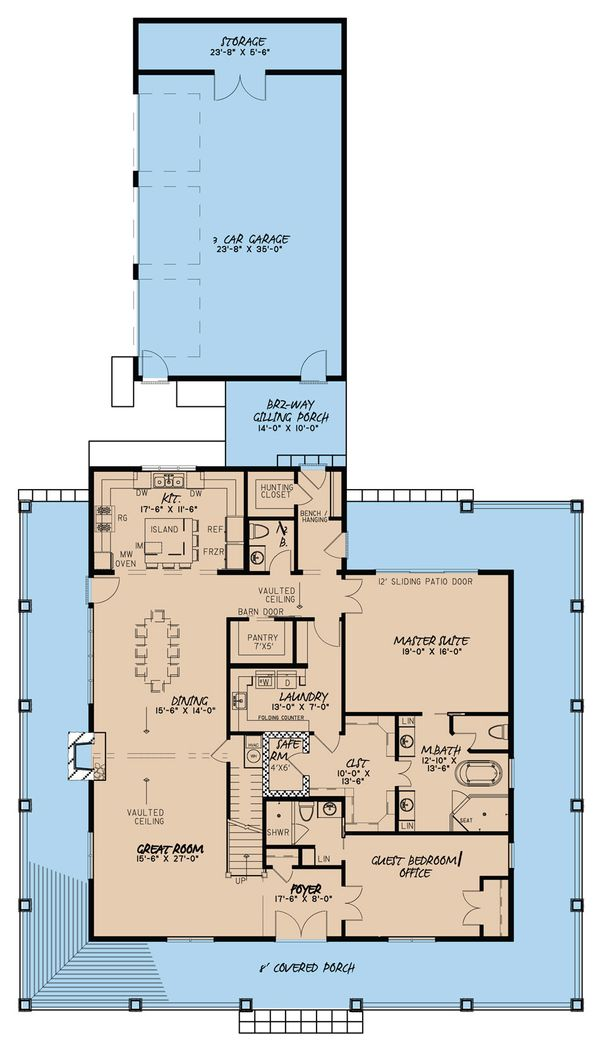 Architectural House Design - Country Floor Plan - Main Floor Plan #923-30