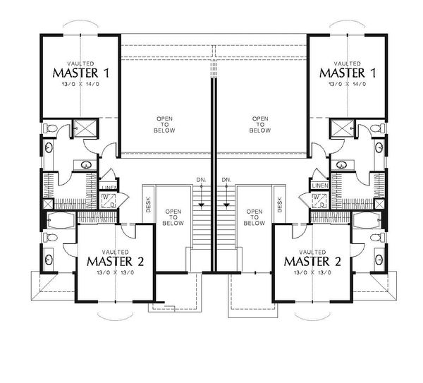 Craftsman Floor Plan - Upper Floor Plan Plan #48-549