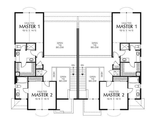 Craftsman Floor Plan - Upper Floor Plan Plan #48-549