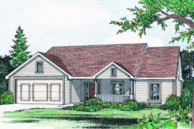 Ranch Style House Plan - 3 Beds 2 Baths 1784 Sq/Ft Plan #20-158 Exterior - Front Elevation