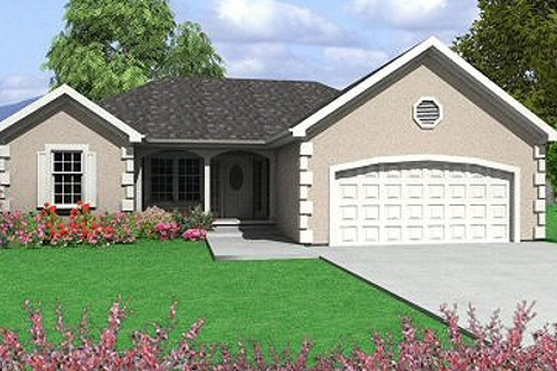 European Style House Plan - 3 Beds 2 Baths 1098 Sq/Ft Plan #6-211 Exterior - Front Elevation