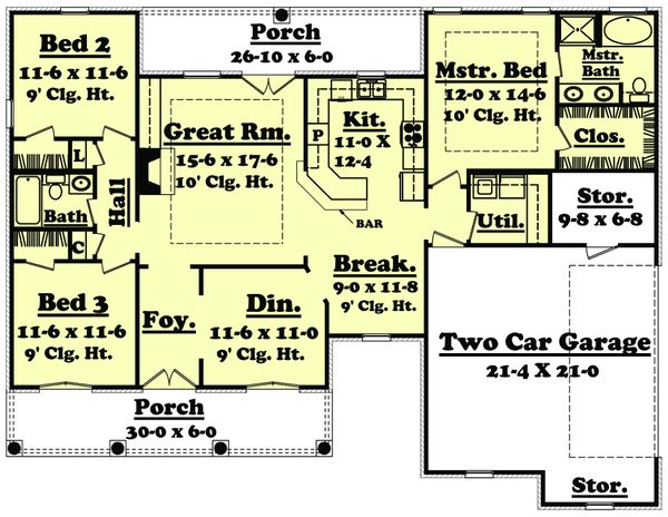 European Floor Plan - Main Floor Plan Plan #430-19