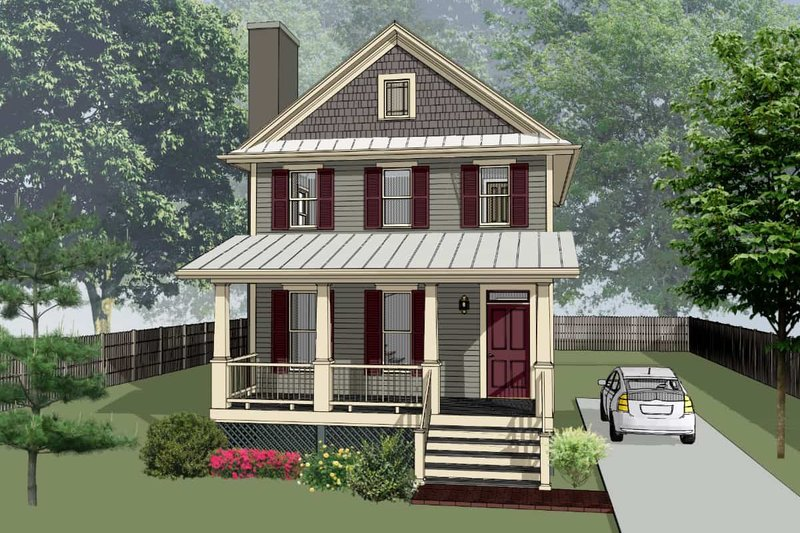 Bungalow Style House Plan - 3 Beds 2.5 Baths 1435 Sq/Ft Plan #79-261 Exterior - Front Elevation