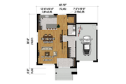 Contemporary Style House Plan - 2 Beds 2.5 Baths 1828 Sq/Ft Plan #25-4875 Floor Plan - Main Floor