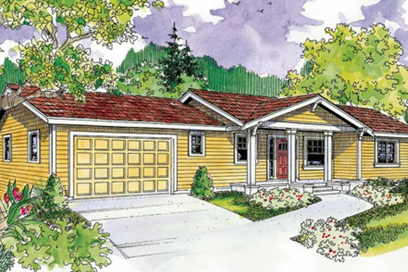 Ranch Exterior - Front Elevation Plan #124-740