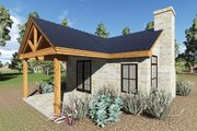 Cottage Style House Plan - 1 Beds 1 Baths 808 Sq/Ft Plan #935-9 Exterior - Covered Porch