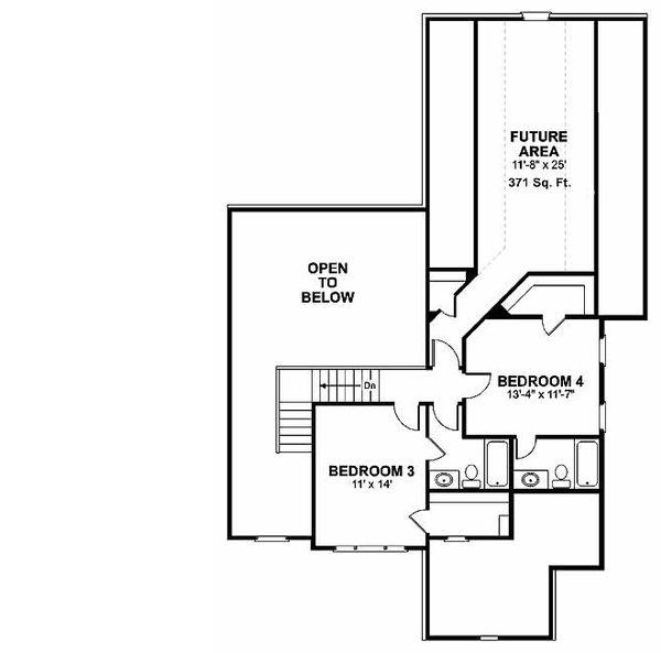Traditional Floor Plan - Upper Floor Plan Plan #56-540