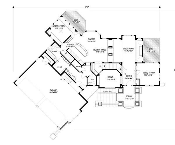 Traditional Floor Plan - Main Floor Plan Plan #56-599