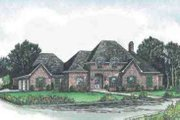 European Style House Plan - 4 Beds 3.5 Baths 2880 Sq/Ft Plan #15-148 Exterior - Front Elevation