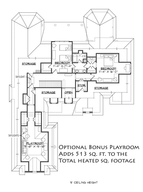 Colonial Floor Plan - Upper Floor Plan Plan #1054-27