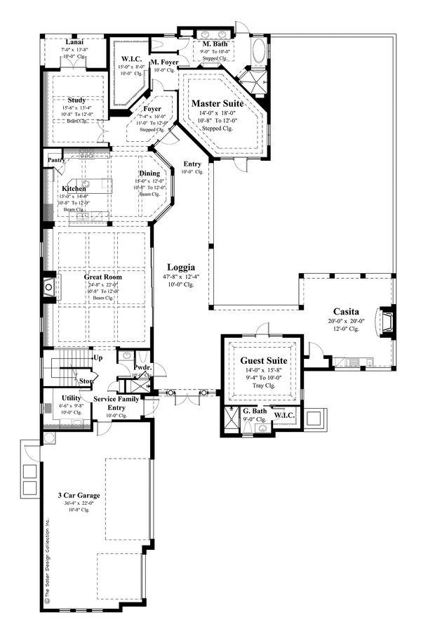 Mediterranean Floor Plan - Main Floor Plan Plan #930-21