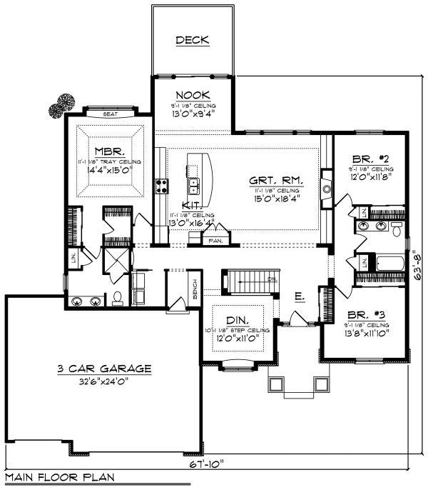Ranch Floor Plan - Main Floor Plan #70-1498