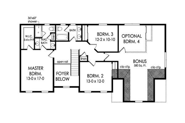 Colonial Floor Plan - Upper Floor Plan Plan #1010-214