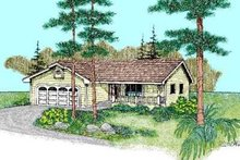 Architectural House Design - Ranch Exterior - Front Elevation Plan #60-466
