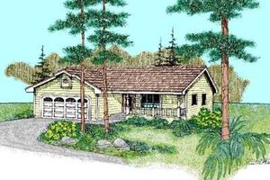 Ranch Exterior - Front Elevation Plan #60-466