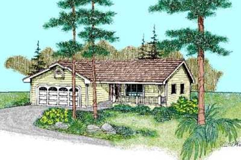 Ranch Exterior - Front Elevation Plan #60-466 - Houseplans.com