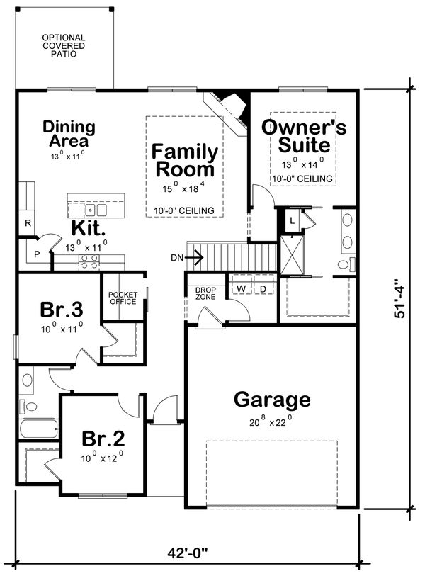 House Design - Traditional Floor Plan - Main Floor Plan #20-2350